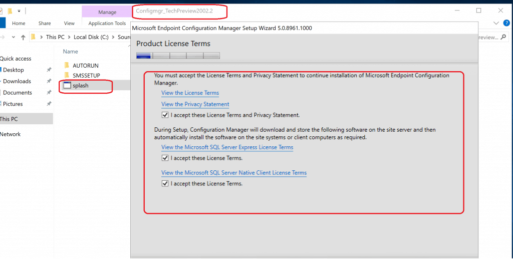 ACCEPT product License Terms as you can see below - Build Configuration Manager Technical Preview LAB