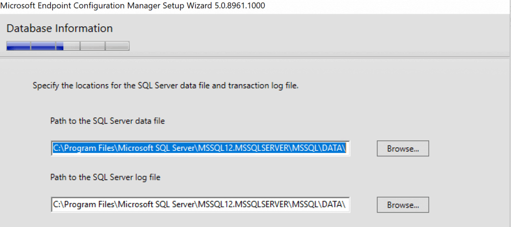 locations for the SQL server data file and transaction log file locations