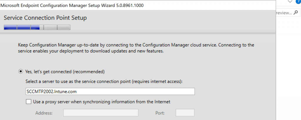 Select the Service connection Point server