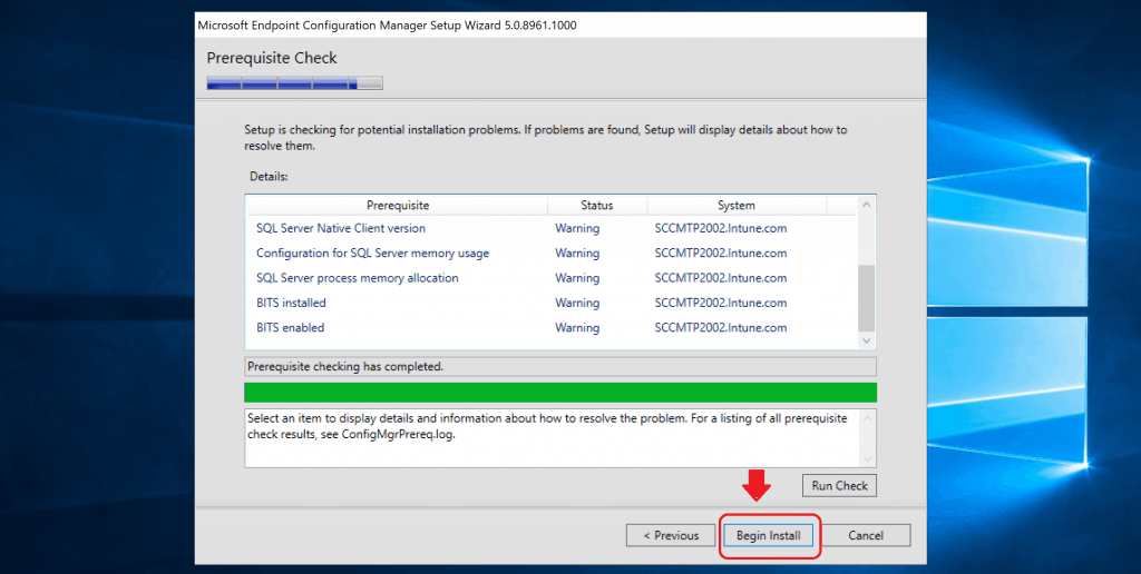 Click on BEGIN INSTALL button to start the installation ConfigMgr Technical Preview LAB primary server