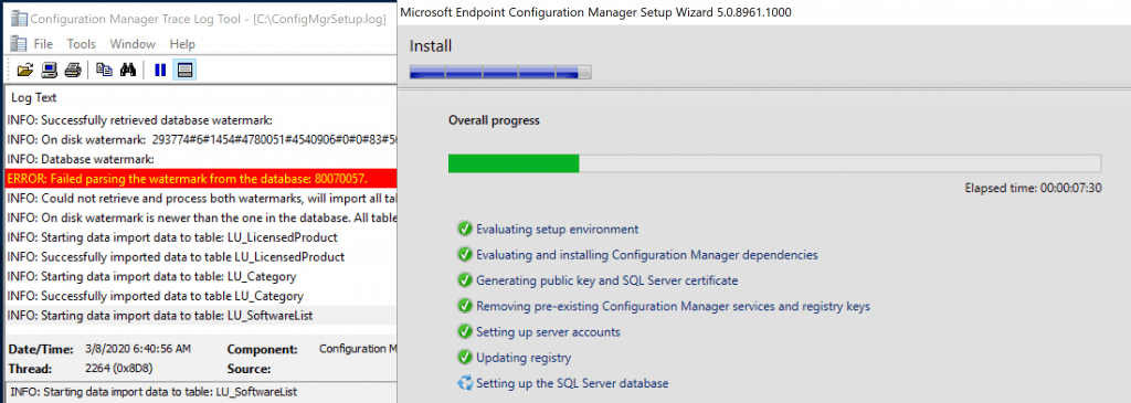Progress bar of the ConfigMgr Preview version - Build Configuration Manager Technical Preview LAB