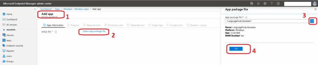 Select App package file hyperlink from App Information Tab - Intune Language Pack Deployment