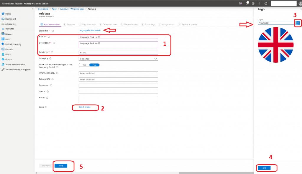 Intune Windows App Win32 - Name, Description, Publisher - Intune Language Pack Deployment