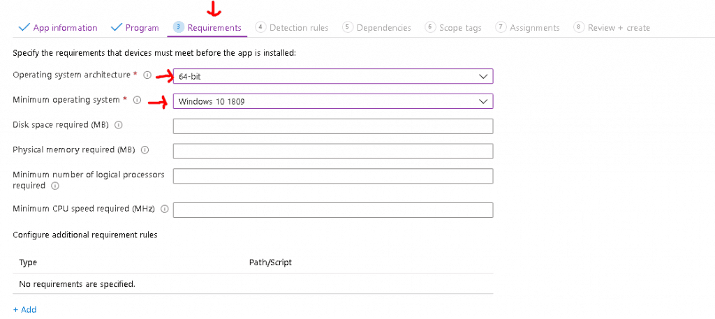 specify the requirements that devices - Deploy Windows App Win32 Using Intune