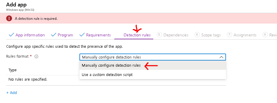 Configure app specific rules used to detect the presence of the app
