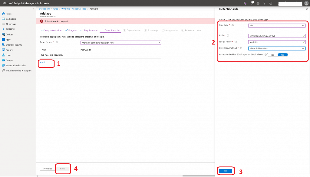 Create a rule that indicates the presence of the app Deploy Windows App Win32 Using Intune
