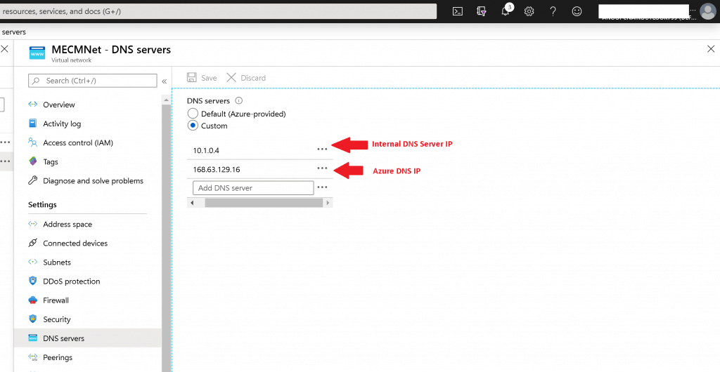 DNS Server Settings for Azure Virtual Networks -  Setup ConfigMgr LAB Infrastructure
