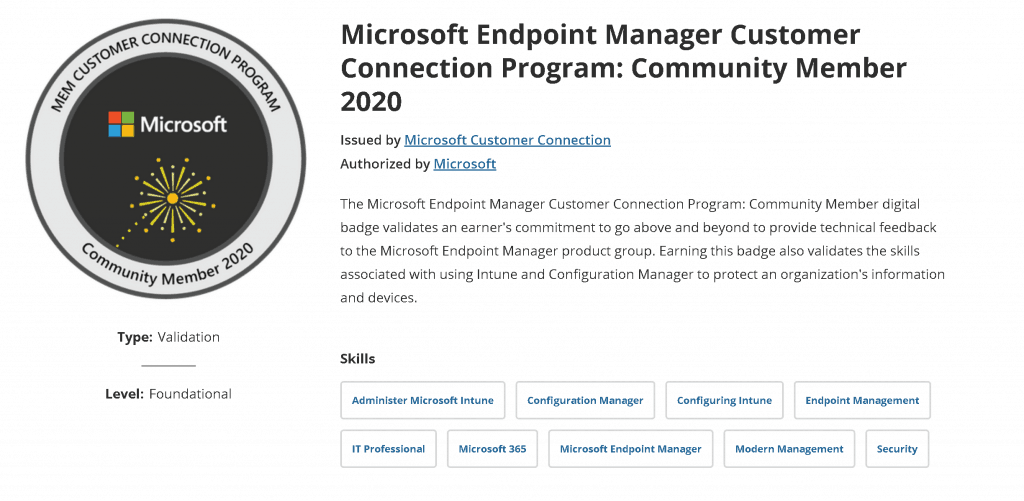 Microsoft Customer Connection Program Digital Badge - Community Member