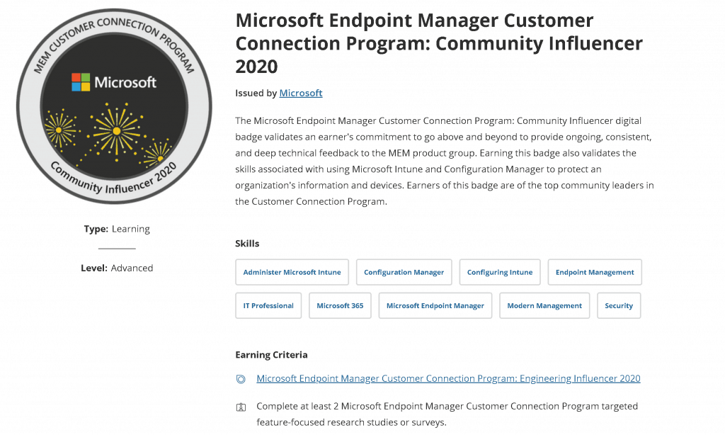Microsoft Customer Connection Program - Digital Badge -   Community Influencer