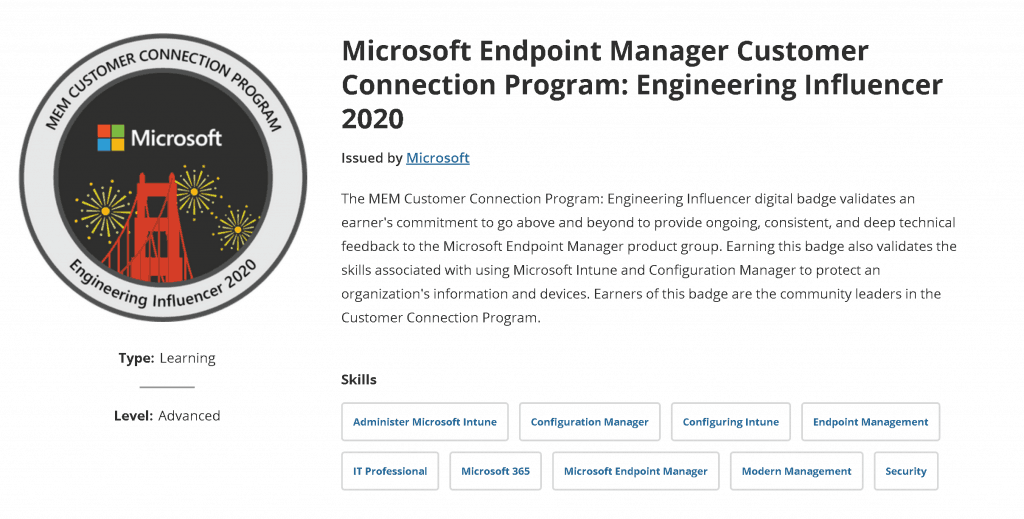 Microsoft Customer Connection Program - Digital Badge -  Engineering Influencer