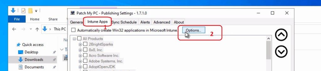 Intune App Options - Patch My PC - Publishing Settings