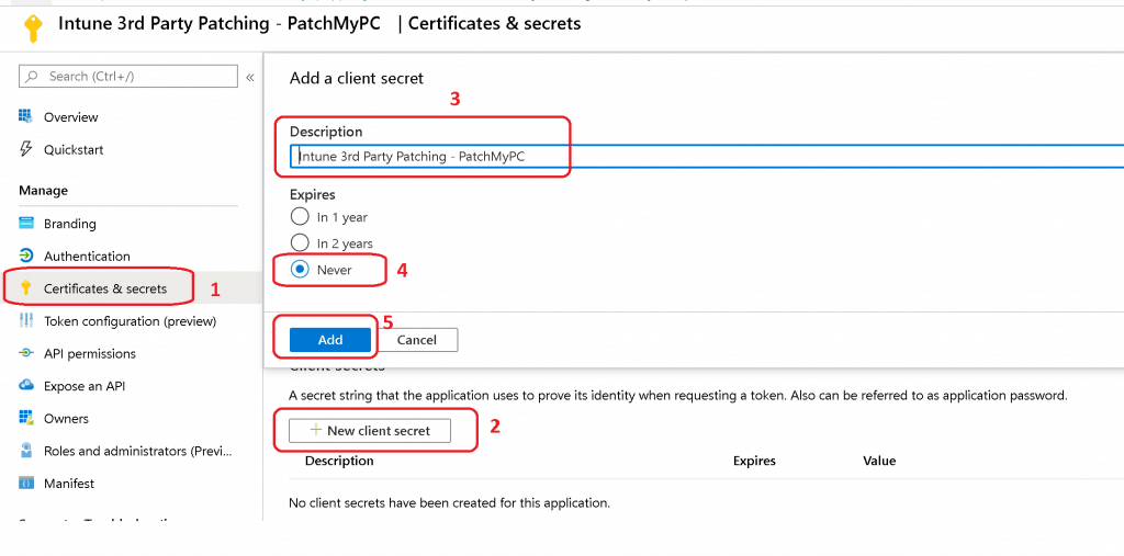 Click on the Certificates & secrets node - Intune Third-Party Patching Automation