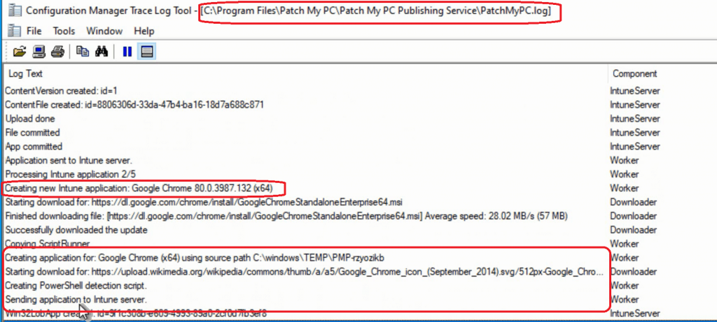 Application sent to Intune server - Intune Third-Party Patching Automation
