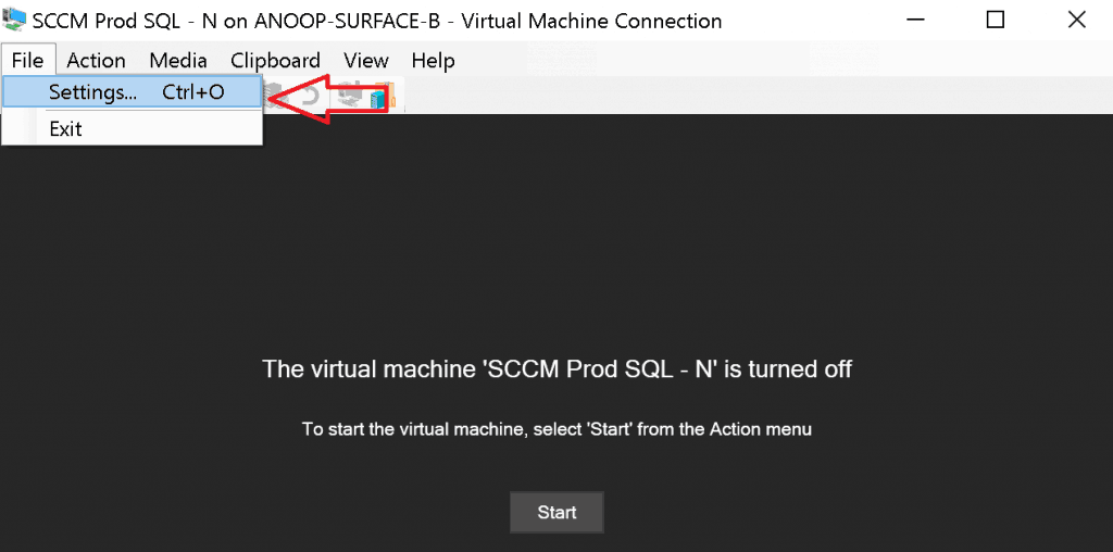 File Settings option of Hyper-V virtual Machine