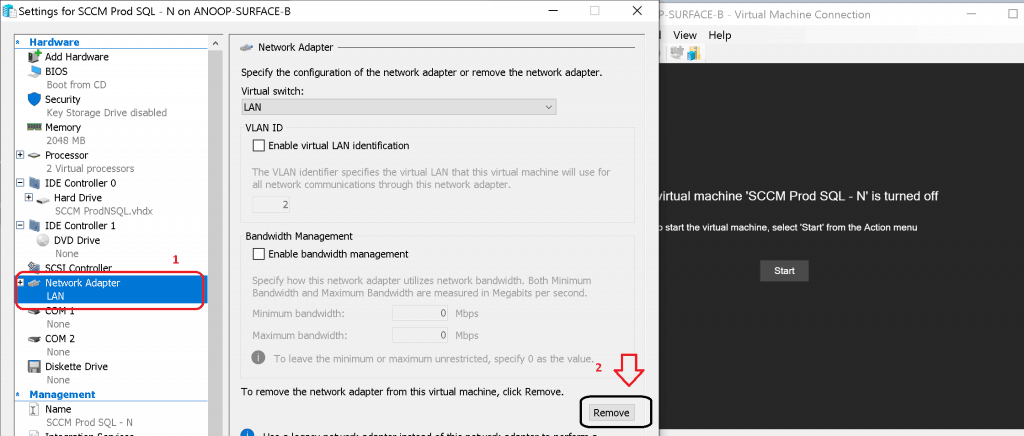 Remove Network Adapter of SCCM virtual Machine