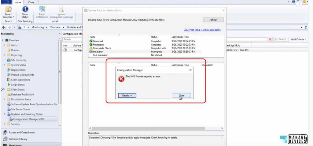The SMS Provider Reported an Error while upgrading to SCCM 2002 version
