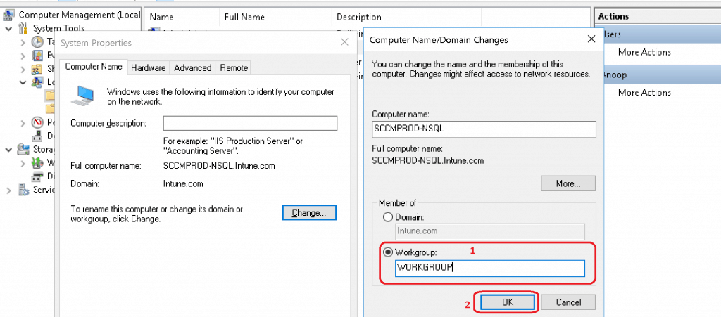 Workgroup option under member of section from Computer name/Domain Change window