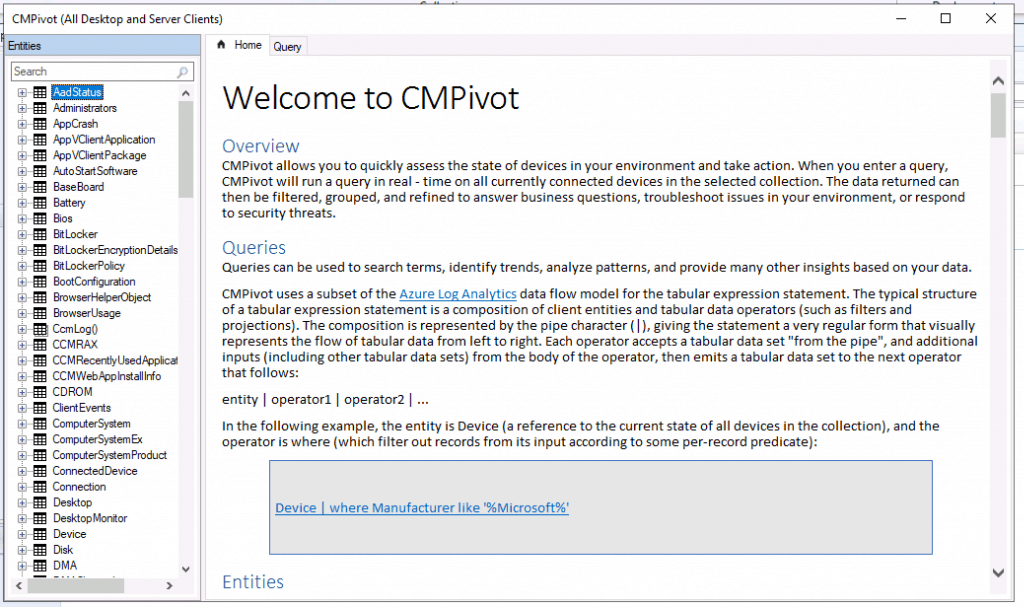 CMPivot Improvements with SCCM 2002 Version - ConfigMgr 2002 List of New Features
