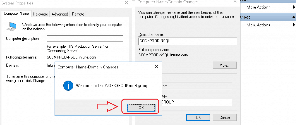 Welcome to the WORKGROUP workgroup - SCCM Server Trust Relationship Issue