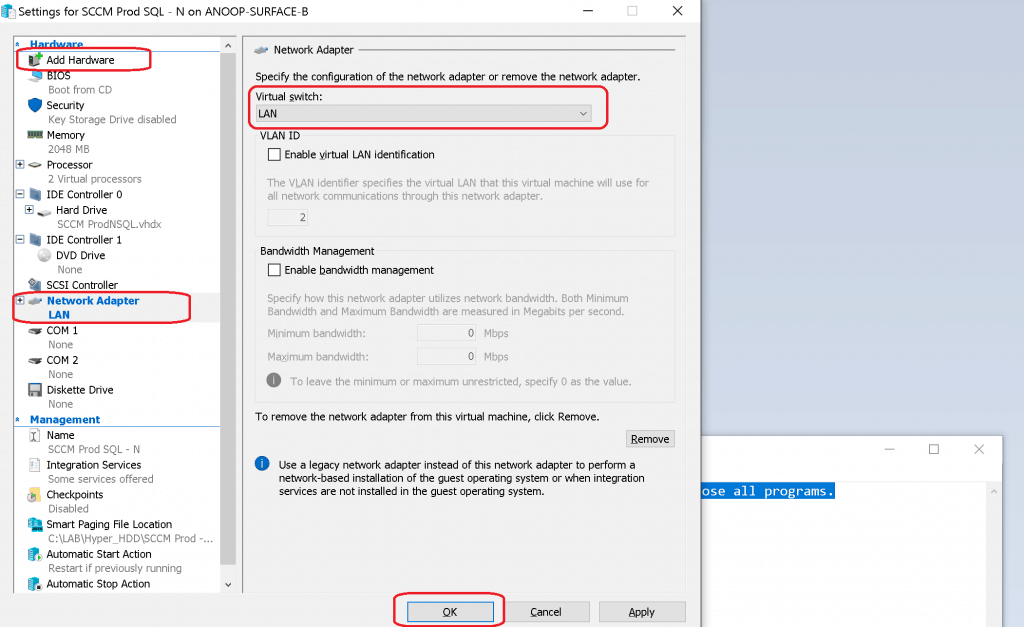 Add the Network Adapter Back to Virtual Machine - SCCM Server Trust Relationship Issue