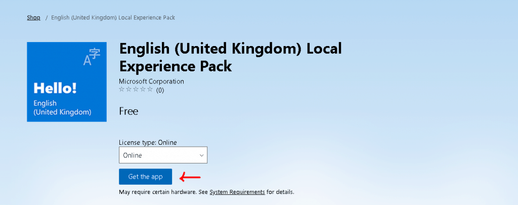 Get the app - English (United Kingdom) Local Experience Pack - Deploy Windows 10 Language Pack
