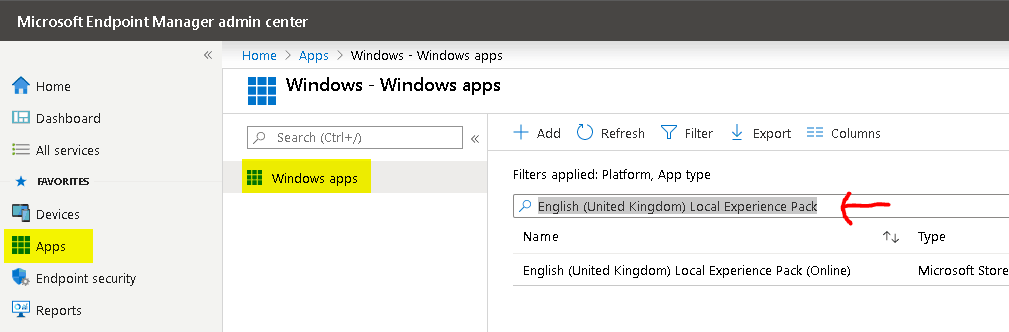 "Search ""English (United Kingdom) Local Experience Pack"" - Deploy Windows 10 Language Pack"