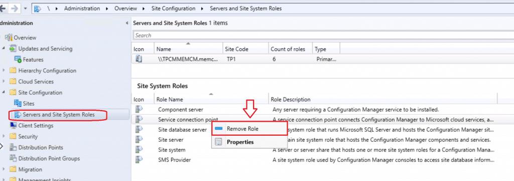 Remove Service Connection Role - Reinstall SCCM Service Connection Point