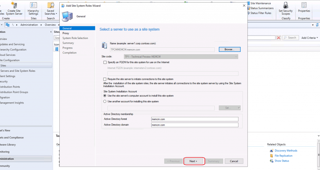 Select the base server as site system for Service connection point reinstall