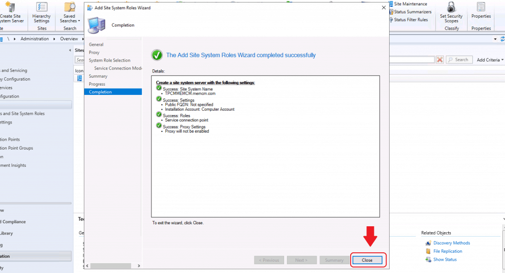 Completed the setup of Service Connection Point - reinstall SCCM Service Connection Point