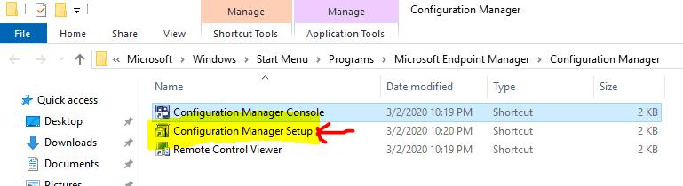 Configuration Manager Setup shortcut  - Reset ConfigMgr Site - ConfigMgr Site Reset