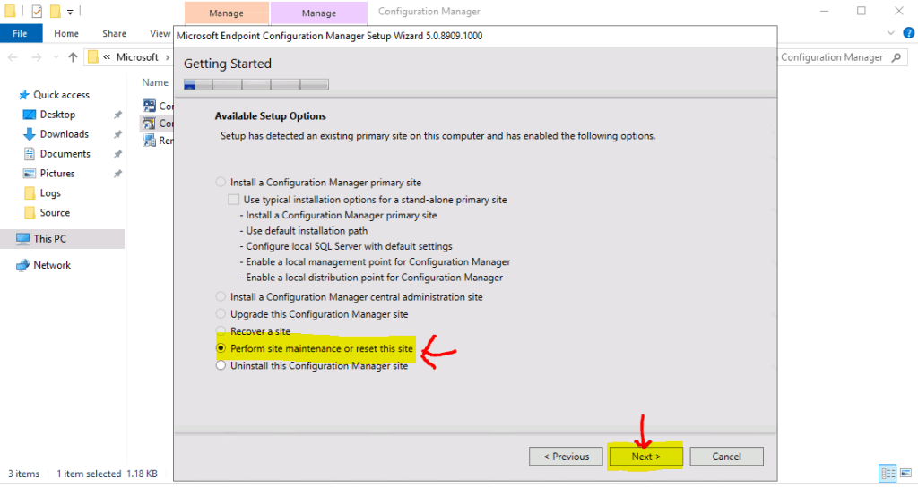 Select the option to Perform ConfigMgr Site Reset