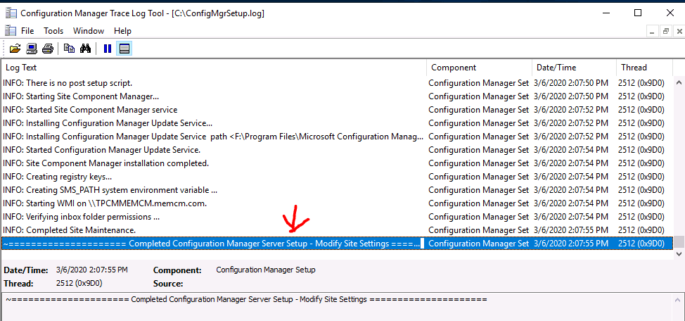 Completed Configuration Manager Server Setup - Modify Site Settings