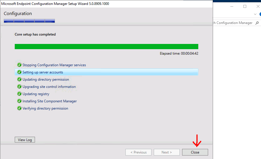 Finish Site Reset Successfully - Microsoft Endpoint Configuration Manager Setup Wizard