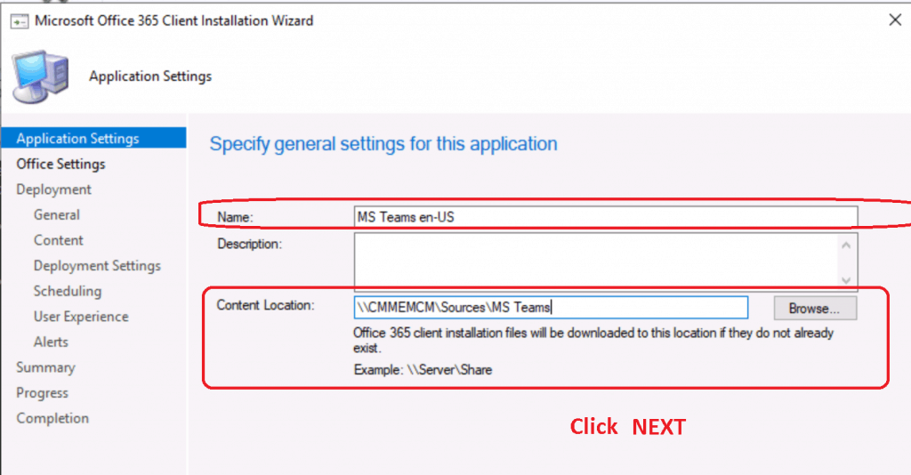 Specify General Settings for MS Teams package