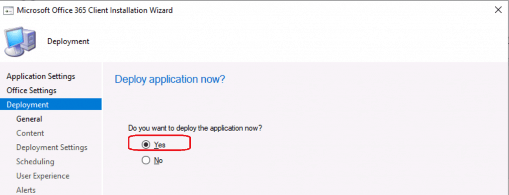Yes to create deployment for MS Teams application