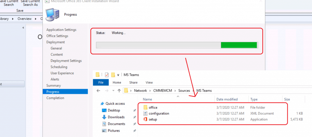 Wait until the Wizard connects to OFFICE CDN and complete the download the source files of MS Teams - Progress