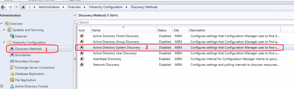 Configure Active Directory System Discovery -Disabled