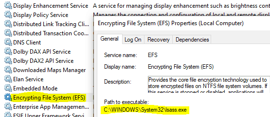 Windows information Protection - User mode EFS service runs within the LSASS process