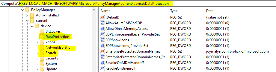 WIP Troubleshooting Checklist - Check registry to confirm present EDP settings