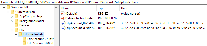 Windows Information Protection - There is only EdpCredentials entry under EFS regsitry path. No EFS CurrentKeys entry.