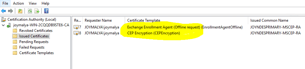 NDES - RA Certificates - CEP Encryption and Exchange Enrollment Agent