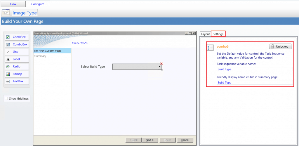 Under Settings set the Task Sequence variable name for control.-  - SCCM ConfigMgr Customizing UDI Wizard