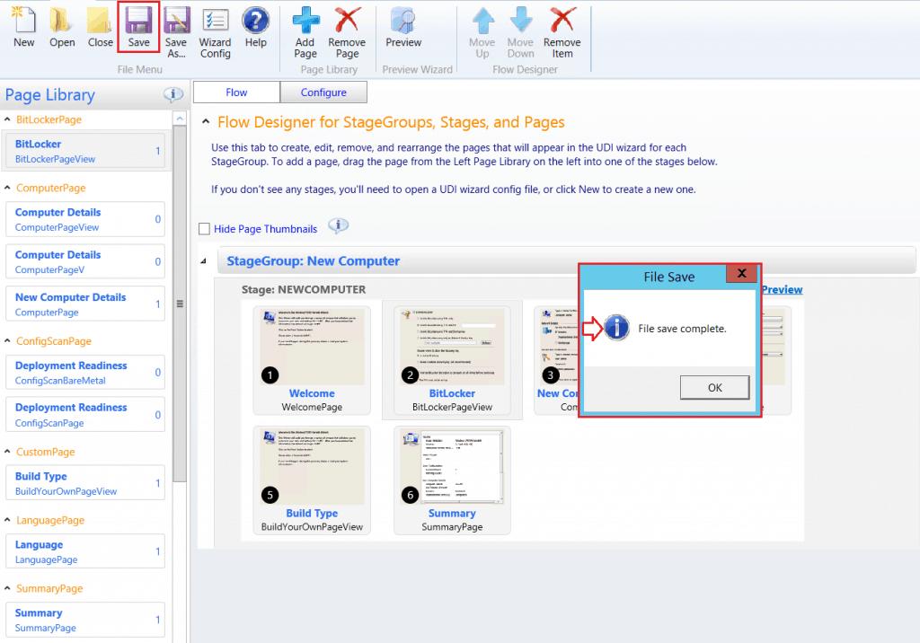 File Save Completed - Click OK. - SCCM ConfigMgr Customizing UDI Wizard