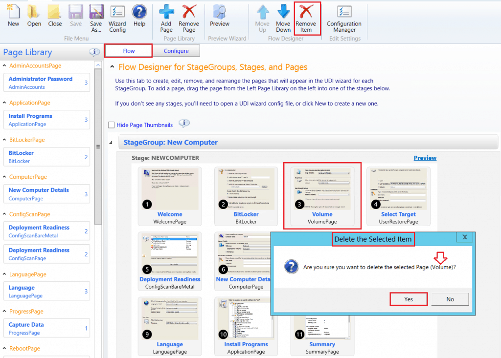 Click Yes - Delete the selected Items - Customizing UDI Wizard