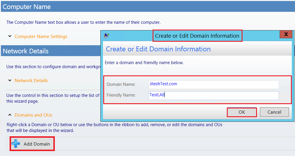 Add Domain - Enter a domain and friendly name - Customizing UDI Wizard