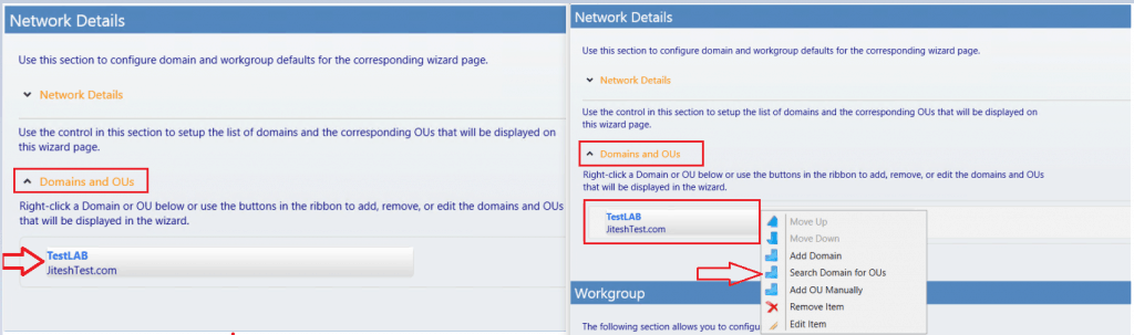 Domain and OUs - setup domain - Customizing UDI Wizard