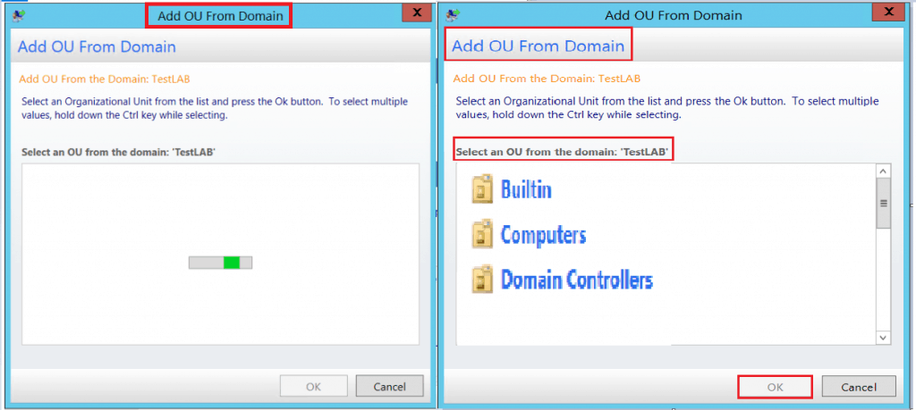Select an OU from the list and press OK - Customizing UDI Wizard
