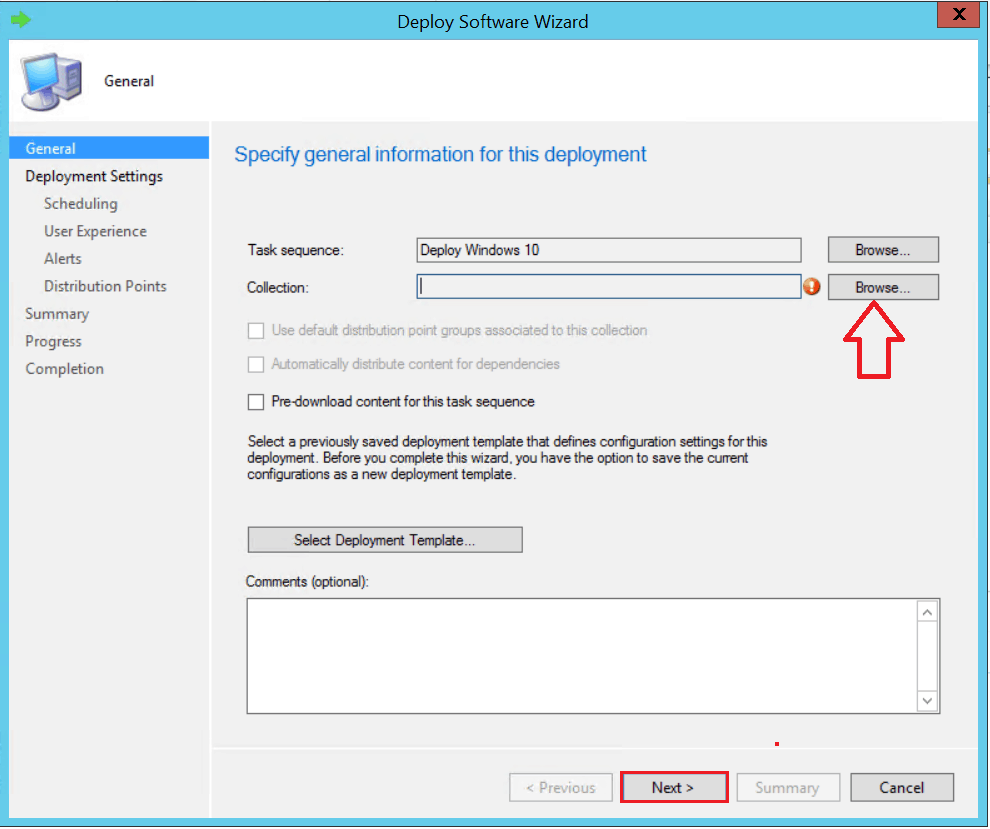 Click Browse button to select the Collection - SCCM ConfigMgr Customizing UDI Wizard