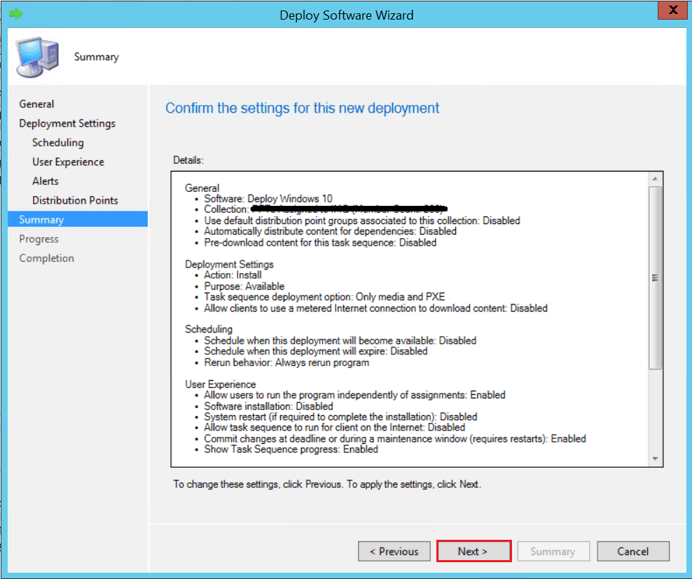 Review the settings for UDI Deployment. - SCCM ConfigMgr Customizing UDI Wizard