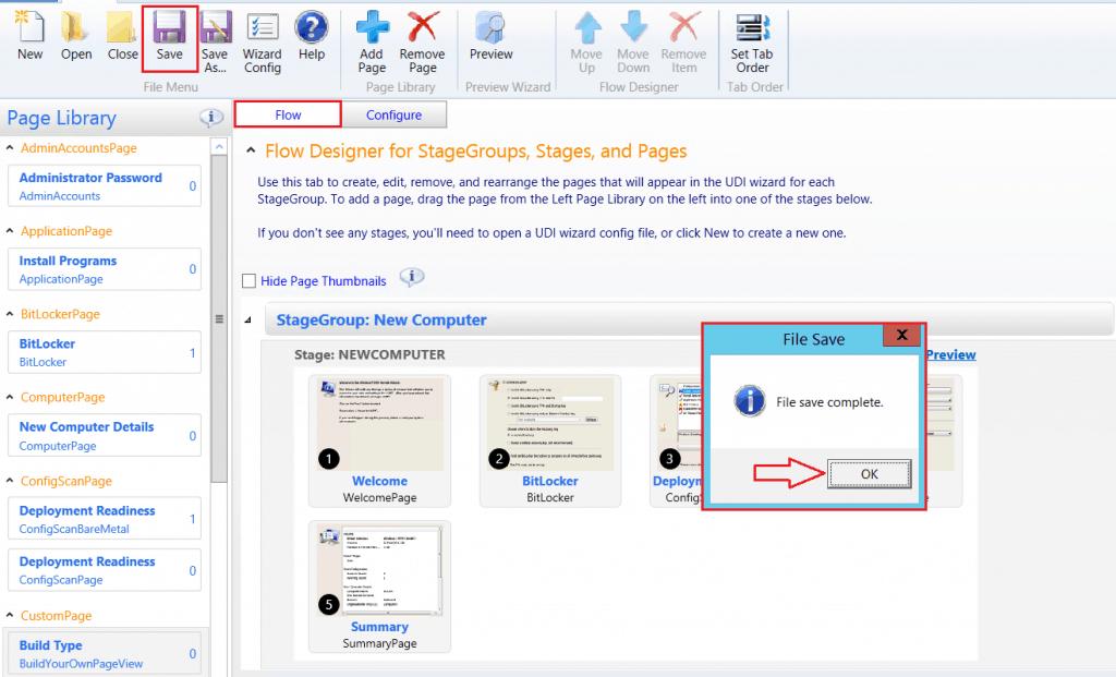 File Save Complete - Customizing UDI Wizard